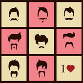 I love vintage hipster hair styles and mustaches, vector illustration — Stock Vector