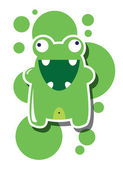 Monster happy birthday, or valentine's card with cute monster, vector — Stock Vector