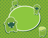 かわいい緑モンスター — ストックベクタ