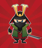 Samurai cartoon illustration — Vector de stock
