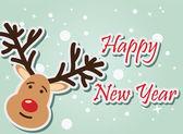 Reindeer New Year — Vector de stock