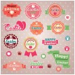 Collection of vintage retro Easter labels, stickers, badges and ribbons, vector illustration — Stock Vector #40875555