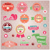 Collection of vintage retro Easter labels, stickers, badges and ribbons, vector illustration — Stock Vector