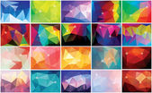 Collection of 20 abstract geometric colorful backgrounds, pattern design, vector illustration — Stock Vector