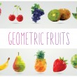 Collection of geometric polygonal fruits, apple, pineapple, watermelon, banana, strawberry, pear, grapes, cherries, kiwi, orange, vector illustration — Stock Vector #42666127