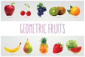 Collection of geometric polygonal fruits, apple, pineapple, watermelon, banana, strawberry, pear, grapes, cherries, kiwi, orange, vector illustration — Stock Vector