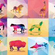Collection of geometric polygon animals, horse, lion, butterfly, eagle, buffalo, shark, wolf, giraffe, elephant, deer, leopard, patter design, vector illustration — Stok Vektör