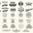 Collection of vintage retro labels, badges, stamps, ribbons, marks and typographic design elements, vector illustration — Stock Vector #43059511