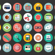 Collection of flat design icons, cloud computing, communication, vector illustration — Vector de stock