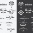 Collection of vintage retro insignia, badges, stamps, ribbons and typographic design elements, vector illustration — Stock Vector