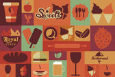 Collection of flat vintage retro food icons, flat design, vector illustration — Stock Vector