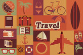 Collection of flat vintage retro travel icons, flat design, vector illustration — Stock Vector