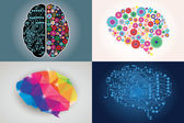 Collections of four different human brains, left and right side, creativity and logic, illustration — Stock Vector