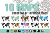 Collection of 10 world maps in different designs, animal prints and geometric designs, patterns and triangles, vector illustration — Stock Vector