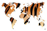 World map in animal print design, vector illustration — Stock Vector