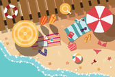 Summer beach in flat design, sea side and beach items, vector illustration — Stock Vector