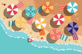 Summer beach in flat design, aerial view, sea side and umbrellas, vector illustration — Cтоковый вектор