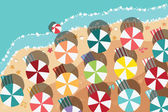 Summer beach in flat design, aerial view, sea side and colorful umbrellas, vector illustration — Stock Vector