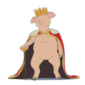 Pig king — Stock Vector