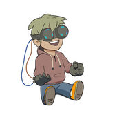 Chibi kid with Virtual reality glasses — Stock Vector