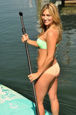 Woman on her Paddle Board — Stock Photo