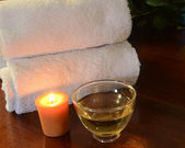 Candle towels and Tea — Stock Photo