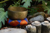 Candles and Tibetan Bell — Stock Photo