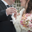 Bride and groom with glasses — Stock Photo
