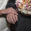 Bride and groom hands with rings — Stock Photo