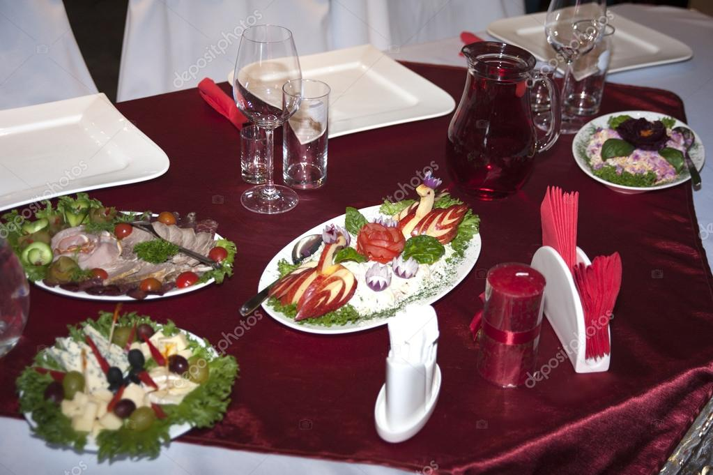 Image of catering table set service with silverware and glass — Stock Photo #12737680