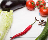 Open note book ready with colorful vegetables for writing recipe — Stock Photo