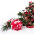 Red ball and christmas tree on white — Stock Photo #13892335