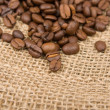 Coffee beans on cotton - Stock Photo