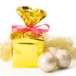 Christmas gift box and balls — Stock Photo #17166489