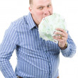 Young man with money — Stock Photo