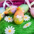 Easter basket with eggs - Stock Photo