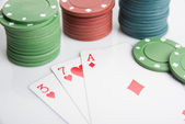 Ace, seven, three and poker chips stack. Selective focus — Stock Photo