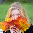Stock Photo: Young girl with leaves