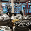 Stock Photo: Shop, wheel, alloy, many, tires, inside, different, silver