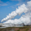 Smoking factory field polluting the air — Stock Photo