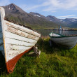 Stock Photo: Old wooden boats in Siglufjordur harbour, Iceland