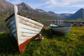 Old wooden boats in Siglufjordur harbour, Iceland — Stock Photo