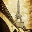 Stock Photo: Eiffel tower vintage retro view from Seine river, Paris
