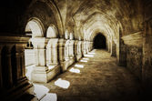 Abbaye de Fontenay archway retro vintage — Stock Photo