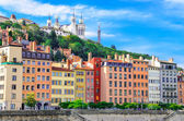 Lyon cityscape from Saone river with colorful houses, France — Stock Photo