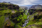Thorsmork mountains canyon and river, near Skogar, Iceland — Stock fotografie