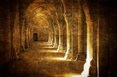 Abbaye de Fontenay archway hall vintage — Stock Photo