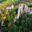 Stock Photo: Cirq lPopie village on cliffs scenic view, France