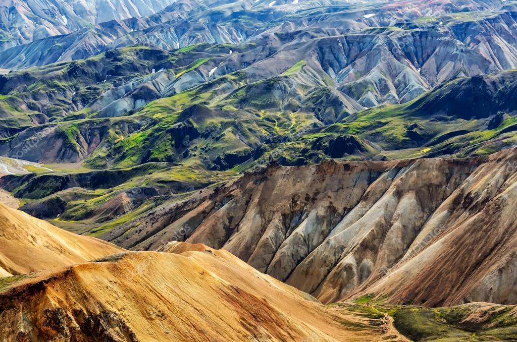 Landmannalaugar colorful mountains landscape view, Iceland ...
