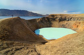 View of Viti crater and person s silhouette, Askja, Iceland — Stock Photo